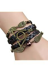 L&k Harry Potter Restoring Ancient Ways the Owl Wings Pearl Leather Fashion Men's Bracelet