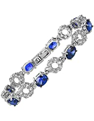 Fashion Gemstone Oval Cut Blue Sapphire Tennis 18K White Gold Plated Bracelet