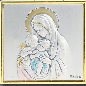 Keepsake & Rosary Box Wood Mahogany Religious Madonna & Child Jesus Mary