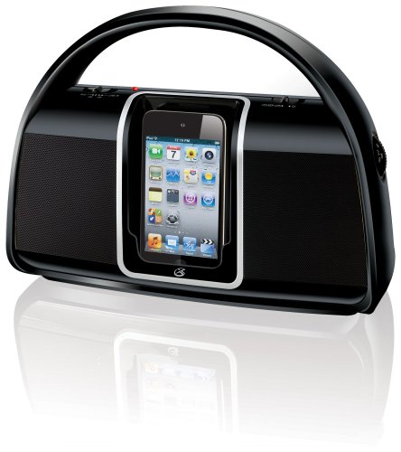 GPX Bi100B Portable Boombox AM/FM Radio with Dock for iPod