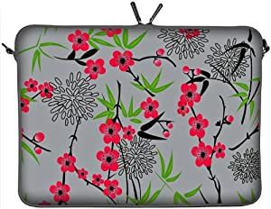 "DIGITTRADE LS104-17 Sakura Designer Notebook Sleeve 17.3"" Laptop Cover Neoprene Soft Carry Case up to 17.3 Inch Anti Shock System"