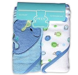 Owen Knit Hooded Towel, 2 Piece (Blue)