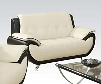 Olivette Loveseat in Black and White Finish by Acme Furniture