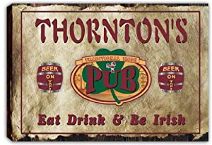 scpa1-1354 THORNTON'S Irish Shamrock Pub Bar Stretched Canvas Print Sign