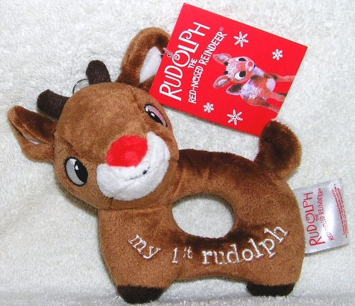 Plush Rudolph the Red Nosed Reindeer Baby Rattle - 1st Christmas - 1
