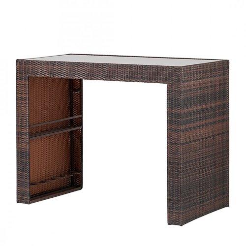 Gartenbar paradise lounge 7 teilig polyrattan glas braun for Lounge garnitur terrasse