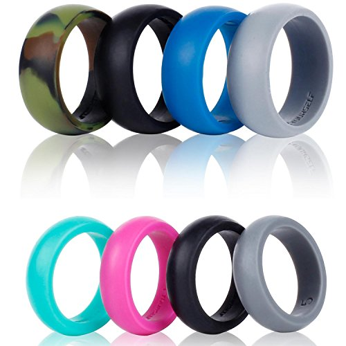Silicone Wedding Ring Band-4 Pack-Safe Flexible Comfortable Medical Grade Love Rings Set for Men Women- Fit for Sports & Outdoors, Workout, Fitness, Athletes, Engineers+ Gift Box-Syourself (Women 8)