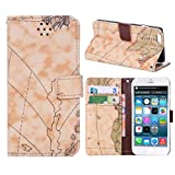Iphone 6 5.5 Phone Case Borch Fashion Multi-function Wallet for Iphone 6 Case Luxury Lychee Leather World Map Pu Leather Protective Carrying Case Cover with Credit Id Card Slots/ Money Pockets Flip Leather Case for Iphone 6 5.5 Inch Borch Screen Protector (Style 2)
