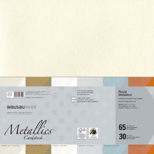 Wausau Creative Collection  Metallics Cardstock, 12 X 12 Inches, Assorted, 30 Count (46409)