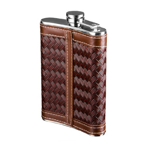 New Scale 8oz PU Leather Wrap Brown Knitted Flask Gift Set Premium High Quality in Black Gift Box