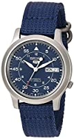 Seiko Men's SNK807 Seiko 5 Automatic Blue Canvas Strap Watch from Seiko