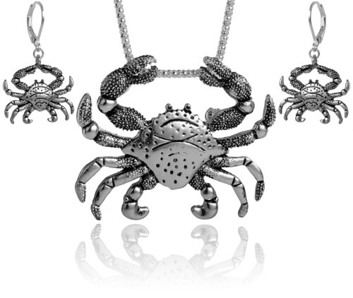 Crab Pendant Necklace Set with Earrings Crafted by Jewelry Nexus