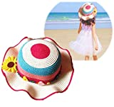 (cocokara) 麦わら帽子 ストローハット 子供 サマーハット 花 紫外線 つば広 あご紐付き 女の子 (ピンク×ブルー)