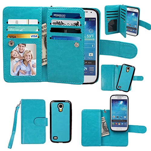 Samsung Galaxy S4 mini Case, xhorizon TM Premium Leather Folio Case [Wallet Function] [Magnetic Detachable] Fashion Wristlet Lanyard Hand Strap Purse Soft Flip Book Style Multiple Card Slots Cash Compartment Pocket with Magnetic Closure Case Cover Skin ZA5 for Samsung Galaxy S4 mini (I9190) - Blue (Samsung Spigen Case S4 Mini compare prices)
