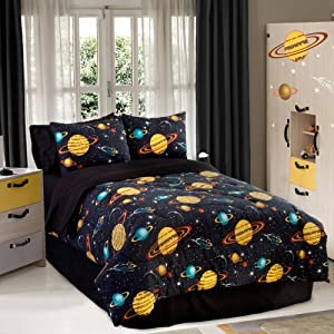 Veratex Bedding Collection Rocket Star Glow in The Dark Comforter Set, Black Multi Color, Twin Size