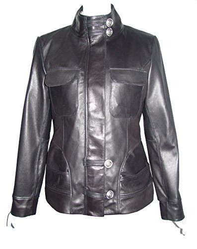 Nettailor Women PLUS SIZE 4192 Soft Leather Casual Jacket Flap Chest Pocket