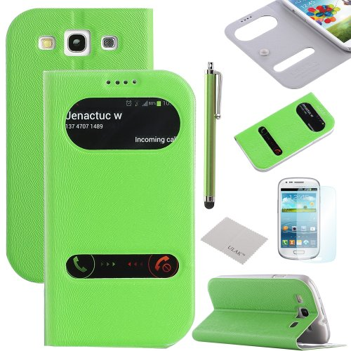 Samsung Galaxy S3 Case, Ulak Pu Leather Flip Case Cover With Window For Samsung Galaxy S3+Screen Protector And Stylus(Green S-View)