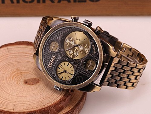Oulm Luxury Watch Brand Men Full Steel 4 Small Dials Men Military Antique Clock Quartz Mens Watch image