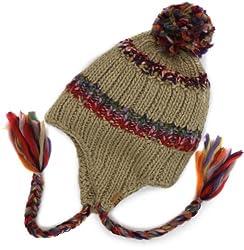Roxy Juniors Northern Lights Knit Earflap Beanie, Beige, One Size