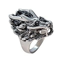 Sarah Dragon Face Finger Ring for Men - Silver [Jewelry]