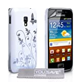 Samsung Galaxy Ace Plus Case White Butterfly Floral Hard Hybrid Cover With Screen Protectorby Yousave Accessories