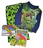 4T Boy Dinosaurs Pajamas & Dinosaurs Toy, Dinosaurs Color Bk,Crayons,4PcBundle