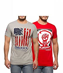 Yo Republic Mens Cotton Tshirt Combo Offer (Pack of 2)(AT-0043-XXL_Grey_Red_XX-Large)
