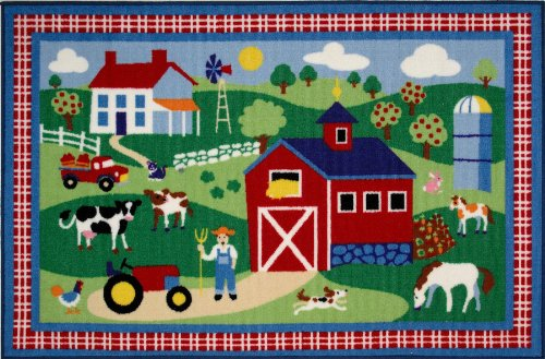 Roule Olive Kids Collection Country Farm 19X29 Inch Kids Area Rugs
