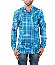 Maclavaro Mens Casual Shirt_9nbluechcks_Blue_XL