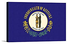 Kentucky State Flag - Letterpress (18x12 Gallery Wrapped Stretched Canvas)