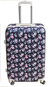 "Vintage Rose Dark Blue Hand Luggage 21"" Cabin Case Suitcase Floral 4 Wheeled Tote Trolley Bag Hard Shell"