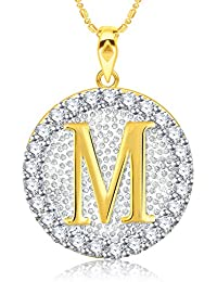 "VK Jewels Alphabet Initial Letter ""M"" Gold And Rhodium Plated Alloy Pendant With Chain For Men & Women P2195G..."