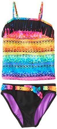 Angel Beach Big Girls'  Odessey Crazy Fringe Tankini, Multi, 10