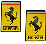 2 X Ferrari Real Aluminum Rare Car Square Logo Badge Emblems (Pair/Set) for 512 308 458 599 328 GTS GTO GTB M Dino 612 F430 360 550 355 F1 Spyder Mondial TS Modena F1 Scuderia Spider Challenge Testarossa