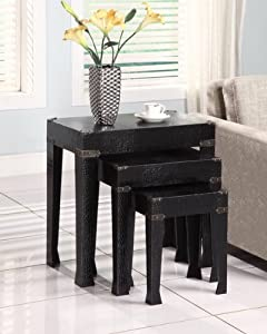 Powell 3-Piece Crocodile Faux Leather Nested Tables, Black