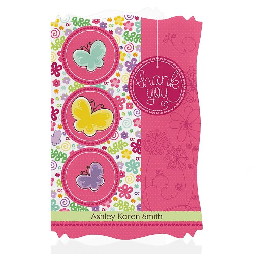 Playful Butterfly And Flowers - Personalized Baby Shower Thank You Cards