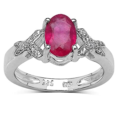 The Ruby Ring Collection: Sterling Silver 1.00CT Ruby Engagement Ring with Diamond Shoulders