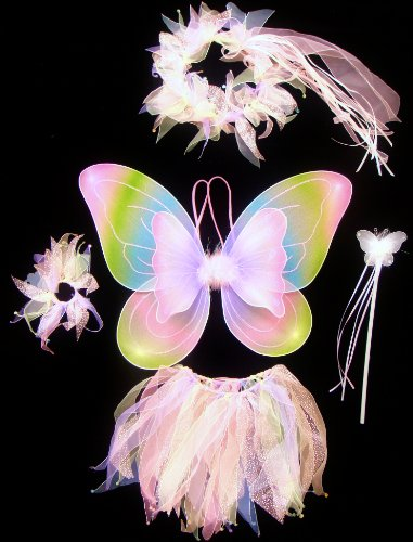 5 Piece Fairy Princess Wing & Halo Girl's Costume - Light Rainbow Wings, Tutu, Hair-tie, Halo & Wand