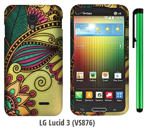 Lg Lucid 3 Vs876 (Us Carrier: Verizon) Premium Pretty Design Protector Cover Case + 1 Of New Assorted Color Metal Stylus Touch Screen Pen (Antique Totem)