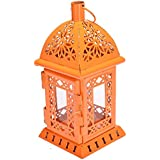 Scrafts Metal Antique Glass Cage Small Orange Candle Holder Party Cafe Candle Stand Lantern Candlesticks Home Decoration/Special Occasions Decoration