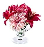 Peony 6732 Lilies/ Dahlia and Chrysanthemum Artificial Floral Arrangement in Footed Vase