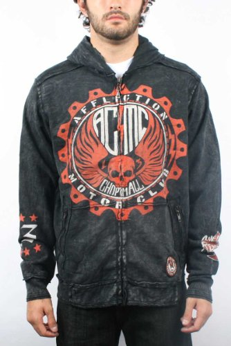 Affliction - Mens Gearhead Zip Pocket Hoodie in Black, Size: Large, Color: Black