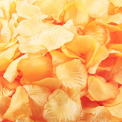 "LEFVâ""¢ 1000pcs Silk Rose Petals Artificial Flower Wedding Party Vase Decor Bridal Shower Favor Centerpieces Confetti Decorations (40 Colors for Choice)- Orange"