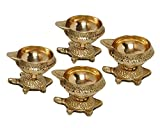 MA DESIGN HUT Kachhua Diya Kuber Deep Set Vastu Diya Diwali Pooja Item - Deepawali Lighting Brass Oil Diya Diwali Decoration Pooja Item and Home Decor Item Festival Gift Item Set of 4