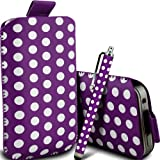 Gadget Giant Purple Polka Dots PU Leather Pull Tab Protective Pouch Case Cover & Capacitive LCD Touch Screen Stylus For T-Mobile Vairy Text II