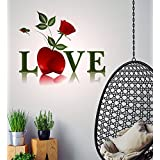 Decals Design 'Love Word And Red Rose Valentine's Day' Wall Sticker (PVC Vinyl, 50 Cm X 70 Cm)