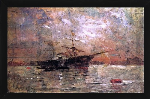 "Frank Duveneck Steamer At Anchor, Twilight, Venice - 18"" X 27"" Framed Premium Canvas Print front-435079"