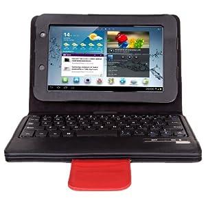 IVSO Samsung Galaxy Tab 2 7.0 Bluetooth Keyboard Portfolio Case - DETACHABLE Bluetooth Keyboard Stand Case / Cover for Samsung Galaxy Tab 2 7.0 Tablet (Black)