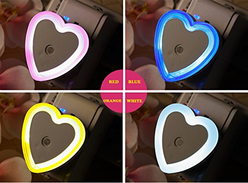How Nice Led Nightlight Children / Baby / Kids Bedside Lamp Favorites Night Light Sensor Wall Night Light For Baby Night (Heart-Shape, Blue+White+Orange+Red) - 4Pcs