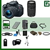 Canon EOS Rebel T5i Digital SLR Camera Kit with 18-55mm STM Lens and Canon EF 75-300mm III Lens + 32GB Greens Camera Package B17